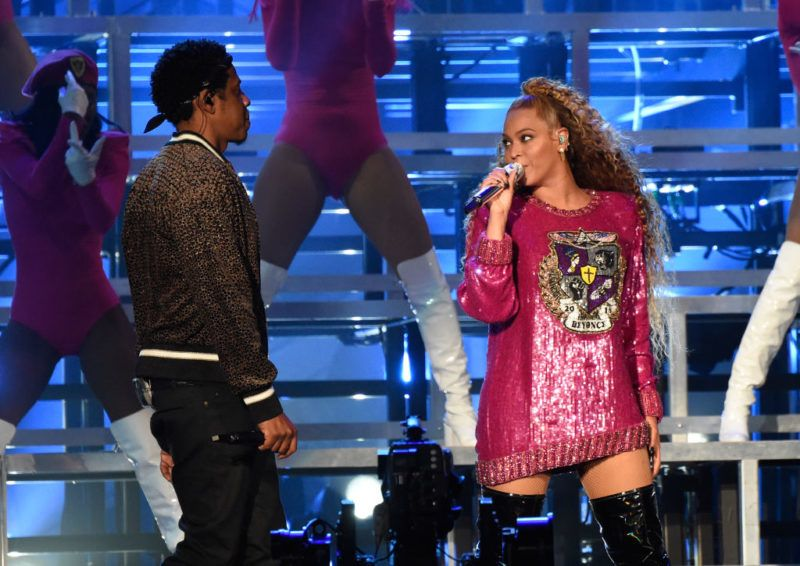 INDIO, CA - APRIL 21:  Jay-Z (L) and Beyonce Knowles perform onstage during the 2018 Coachella Valley Music And Arts Festival at the Empire Polo Field on April 21, 2018 in Indio, California.  (Photo by Kevin Mazur/Getty Images for Coachella)