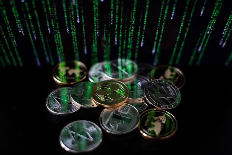LONDON, ENGLAND - APRIL 25: In this photo illustration of the litecoin, ripple and ethereum cryptocurrency 'altcoins' sit arranged for a photograph on April 25, 2018 in London, England. Cryptocurrency markets began to recover this month following a massive crash during the first quarter of 2018, seeing more than $550 billion wiped from the total market capitalisation. (Photo by Jack Taylor/Getty Images)