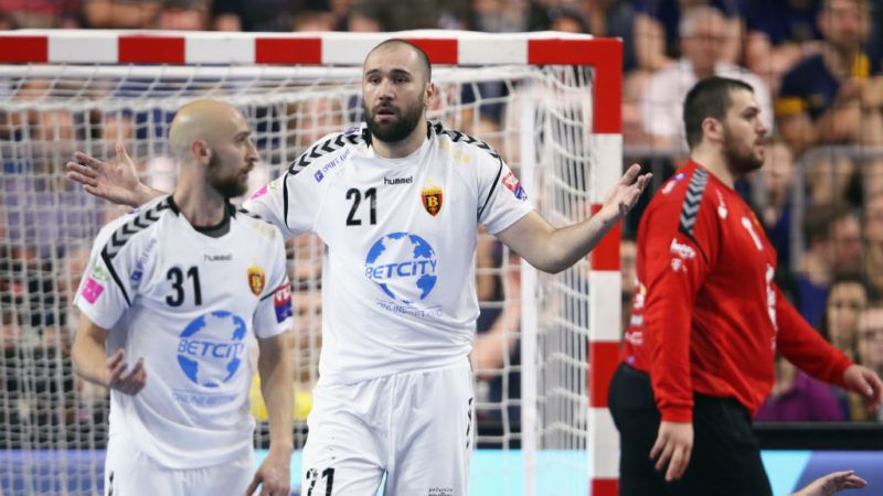 COLOGNE, GERMANY - MAY 27: Timur Dibirov, Joan Canellas Reixach and goalkeeper Strahinja Milic (L-R) of Vardar react during the EHF Champions League Final 4 third place match between Paris Saint Germain and HC Vardar at Lanxess Arena on May 27, 2018 in Cologne, Germany.  (Photo by Alex Grimm/Bongarts/Getty Images)
