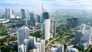 JAKARTA - Indonesia. March 12, 2018: Aerial photo of iconic BNI 46 Tower with located in South Jakarta Central Business District,