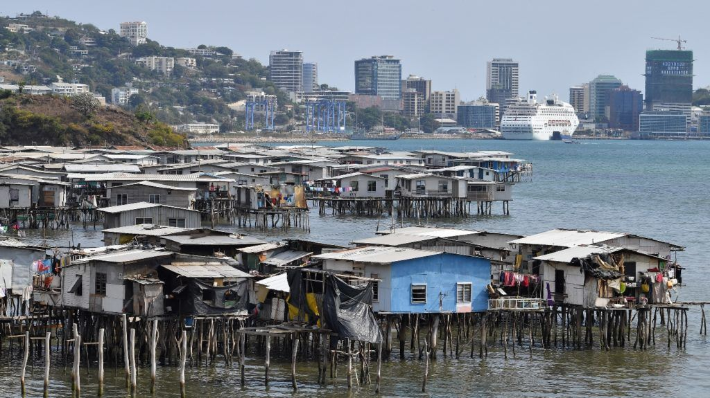 This picture taken on November 19, 2018 show makeshift huts seen across the ship accommodating delegates and journalists attending the Asia-Pacific Economic Cooperation (APEC) Summit in Port Moresby. (Photo by SAEED KHAN / AFP)