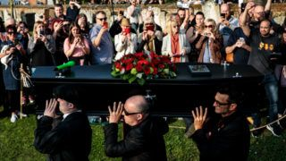 BRAINTREE, ENGLAND - MARCH 29: The Prodigy frontman Keith Flint's coffin is carried during his funeral at St Mary's Church on March 29, 2019 in Braintree, England. Keith Flint was the front man of British electronic band The Prodigy. He was found dead at his home on the 4th March, 2019. (Photo by Jack Taylor/Getty Images)