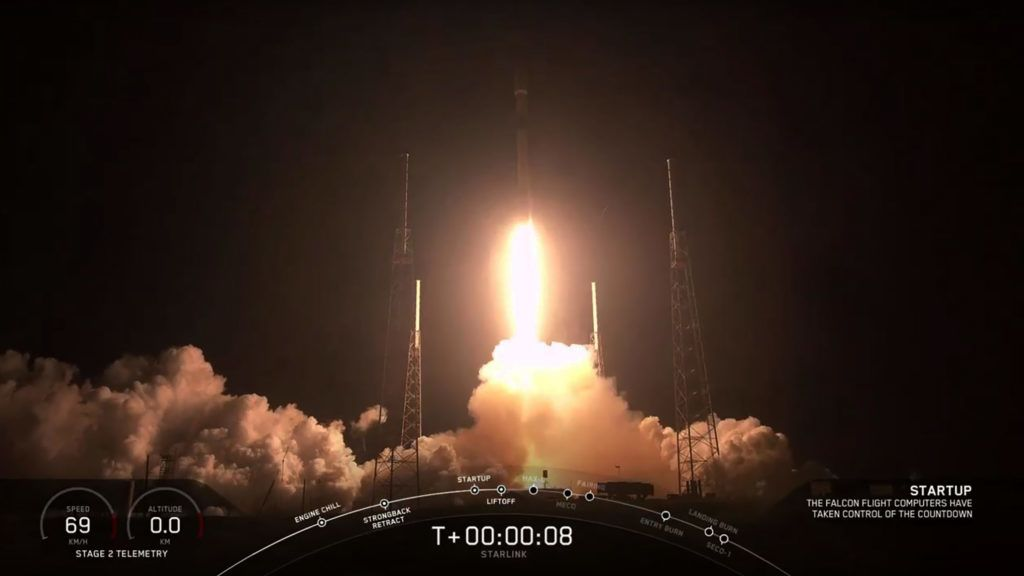 """This video grab taken from the Space X webcast transmission on May 23, 2019, shows a SpaceX Falcon 9 rocket with 60 Starlink satelites lifting off from Space Launch Complex 40 (SLC-40) at Cape Canaveral Air Force Station, Florida. (Photo by HO / SPACEX / AFP) / RESTRICTED TO EDITORIAL USE - MANDATORY CREDIT """"AFP PHOTO / SPACE X"""" - NO MARKETING NO ADVERTISING CAMPAIGNS - DISTRIBUTED AS A SERVICE TO CLIENTS ---"""