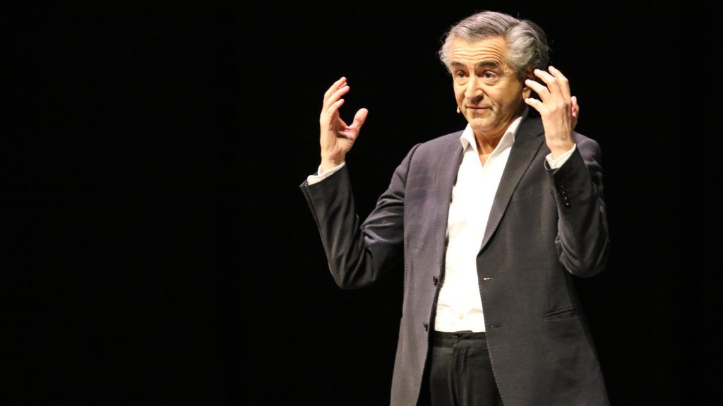 Bernard-Henri Levy the  French public intellectual performing on a stage is seen in Gdansk, Poland on 12 April 2019