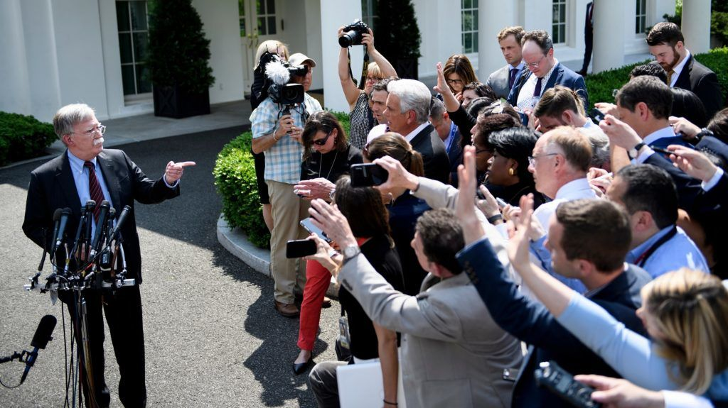 National Security Advisor John Bolton speaks to reporters about Venezuela outside the West Wing of the White House on April 30, 2019, in Washington, DC. (Photo by Brendan Smialowski / AFP)
