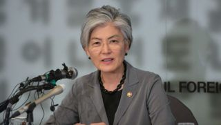 """South Korea's Foreign Minister Kang Kyung-wha speaks during a press conference at the Seoul Foreign Correspondents' Club in Seoul on May 3, 2019. - Kang said on May 3, Pyongyang needs to show """"visible, concrete and substantial"""" actions for denuclearisation if it wants sanctions relief, amid the North's nuclear deadlock with the United States. (Photo by Jung Yeon-je / AFP)"""