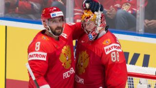 Russia's forward Alexander Ovechkin (L) and Russia's goalkeeper Andrei Vasilevsky celebrate after winning their IIHF Men's Ice Hockey World Championships Group B match between Russia and Norway on May 10, 2019 in Bratislava. (Photo by VLADIMIR SIMICEK / AFP)
