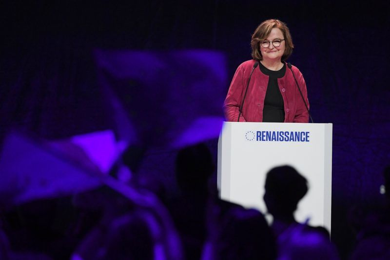 French La Republique En Marche's (LREM) front runner candidate for the upcoming European elections Nathalie Loiseau speaks during a public meeting ahead of the European elections on May 11, 2019, in Strasbourg, eastern France. (Photo by FREDERICK FLORIN / AFP)