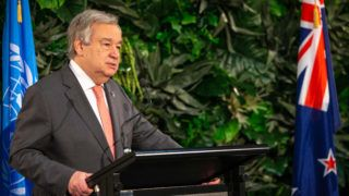 United Nations Secretary-General Antonio Guterres takes part in a joint press conference with New Zealand's prime minister during his visit to Government House in Auckland on May 12, 2019. (Photo by DAVID ROWLAND / AFP)