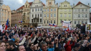 People attend a rally against Czech Prime Minister Andrej Babis and Czech Minister of Justice Marie Benesova on the Old Town Square on May 13, 2019 in Prague. - Several thousand Czechs rallied Monday in the latest protest against the country's billionaire prime minister, who has been charged with EU subsidy fraud, and a newly-appointed justice minister. (Photo by Michal Cizek / AFP)
