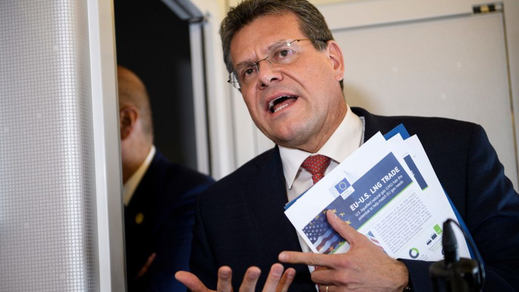 European Commission Vice President Maros Sefcovic speaks to reporters aboard Air Force One on  May 14, 2019, in Louisiana. (Photo by Brendan Smialowski / AFP)