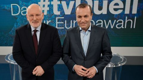 Manfred Weber (R), top candidate of the European People's Party (EPP) and Frans Timmermans, top candidate of Party of European Socialists (PES) pose for photographers prior to a TV debate at the studios of public broadcaster ZDF in Berlin on May 16, 2019. (Photo by JOHN MACDOUGALL / AFP)