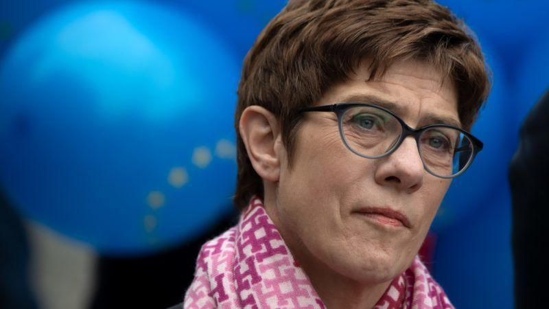 """dpatop - 05 May 2019, Berlin: Annegret Kramp-Karrenbauer (CDU), party leader, takes part in a rally of the European initiative """"Pulse of Europe"""" at the Gendarmenmarkt. Photo: Ralf Hirschberger/dpa"""