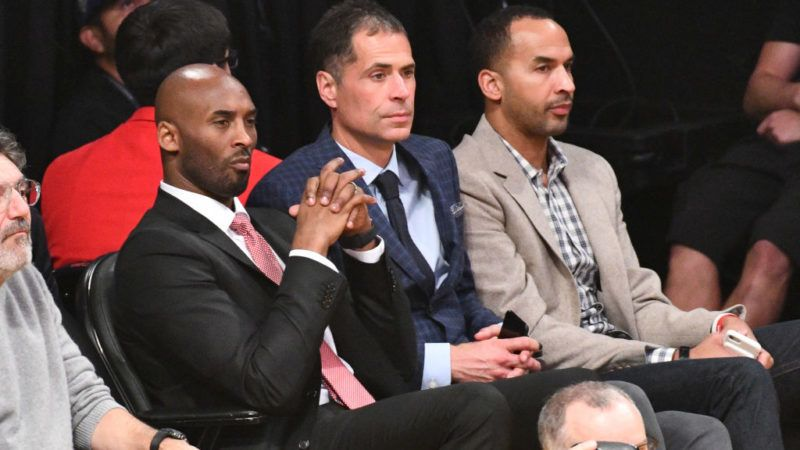 LOS ANGELES, CA - OCTOBER 25:  Former Laker Kobe Bryant and Lakers GM Rob Pelinka attend a basketball game between the Los Angeles Lakers and the Denver Nuggets at Staples Center on October 25, 2018 in Los Angeles, California.  (Photo by Allen Berezovsky/Getty Images)