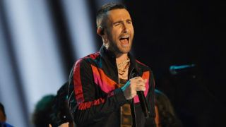 ATLANTA, GA - FEBRUARY 03: Adam Levine and Maroon 5 perform during the Pepsi Super Bowl LIII Halftime Show at Mercedes-Benz Stadium on February 3, 2019 in Atlanta, Georgia.  (Photo by Harry How/Getty Images)