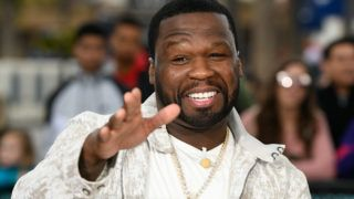 """UNIVERSAL CITY, CALIFORNIA - FEBRUARY 20: 50 Cent visits """"Extra"""" at Universal Studios Hollywood on February 20, 2019 in Universal City, California. (Photo by Noel Vasquez/Getty Images)"""