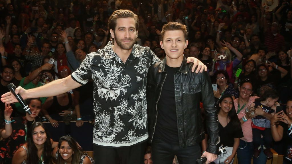 """QUERETARO, MEXICO - MAY 04:  Jake Gyllenhaal and Tom Holland attend Conque 2019 to present the new film """"Spider-Man: Far From Home"""" at Centro de Congresos on May 4, 2019 in Queretaro, Mexico.  (Photo by Victor Chavez/Getty Images)"""