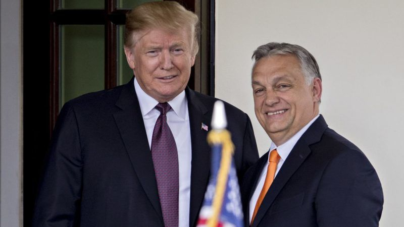 U.S. President Donald Trump, left, and Viktor Orban, Hungary's prime minister, stand for photographers at the West Wing of the White House in Washington, D.C., U.S., on Monday, May 13, 2019. Trump is meeting with the nationalist leader of Hungary despite bipartisan objections from Congress, as the U.S. seeks to steer the Central European nation and NATO member away from Russia and China. Photographer: Andrew Harrer/Bloomberg via Getty Images