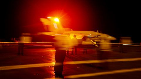"""RED SEA - MAY 10: In this handout photo provided by the U.S. Navy, an F/A-18E Super Hornet from the """"Sidewinders"""" of Strike Fighter Squadron (VFA) 86 launches from the flight deck of the Nimitz-class aircraft carrier USS Abraham Lincoln (CVN 72) May 10, 2019 in the Red Sea. The Abraham Lincoln Carrier Strike Group has been deployed to U.S. Central Command area of responsibility as tensions with Iran have recently escalated. With Abraham Lincoln as the flagship, deployed strike group assets include staffs, ships and aircraft of Carrier Strike Group (CSG) 12, Destroyer Squadron (DESRON) 2, the guided-missile cruiser USS Leyte Gulf (CG 55) and Carrier Air Wing Seven (CVW 7). (Photo by Mass Communication Specialist Seaman Michael Singley/U.S. Navy via Getty Images)"""