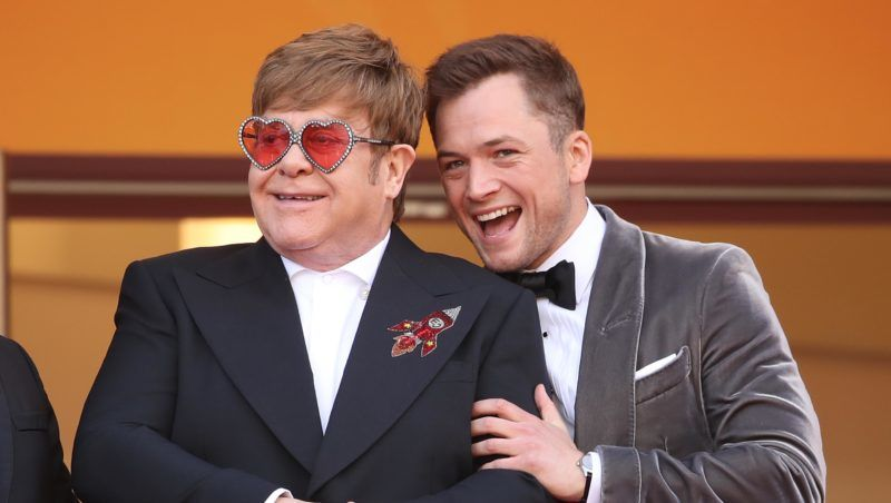 """CANNES, FRANCE - MAY 16:  Sir Elton John and Taron Egerton attends the screening of """"Rocketman"""" during the 72nd annual Cannes Film Festival on May 16, 2019 in Cannes, France. (Photo by Mike Marsland/WireImage)"""