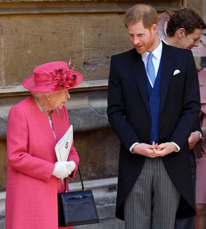WINDSOR, UNITED KINGDOM - MAY 18: (EMBARGOED FOR PUBLICATION IN UK NEWSPAPERS UNTIL 24 HOURS AFTER CREATE DATE AND TIME) Queen Elizabeth II and Prince Harry, Duke of Sussex attend the wedding of Lady Gabriella Windsor and Thomas Kingston at St George's Chapel on May 18, 2019 in Windsor, England. (Photo by Pool/Max Mumby/Getty Images)