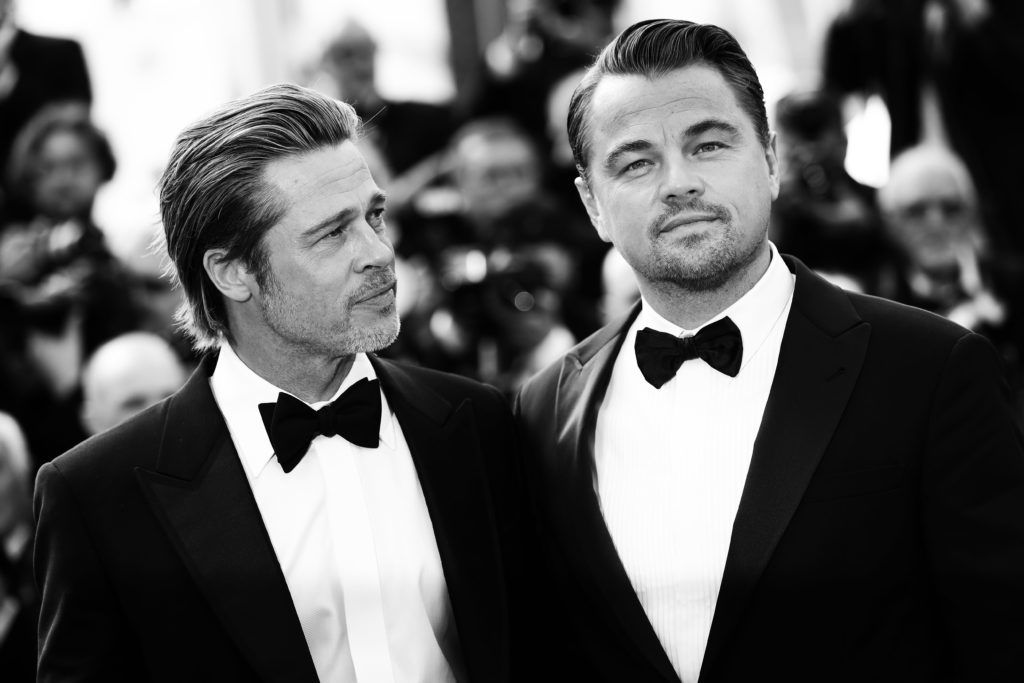 """CANNES, FRANCE - MAY 21: (EDITOR'S NOTE: This image has been digitally altered) Brad Pitt and Leonardo DiCaprio attend the screening of """"Once Upon A Time In Hollywood"""" during the 72nd annual Cannes Film Festival on May 21, 2019 in Cannes, France. (Photo by Vittorio Zunino Celotto/Getty Images)"""