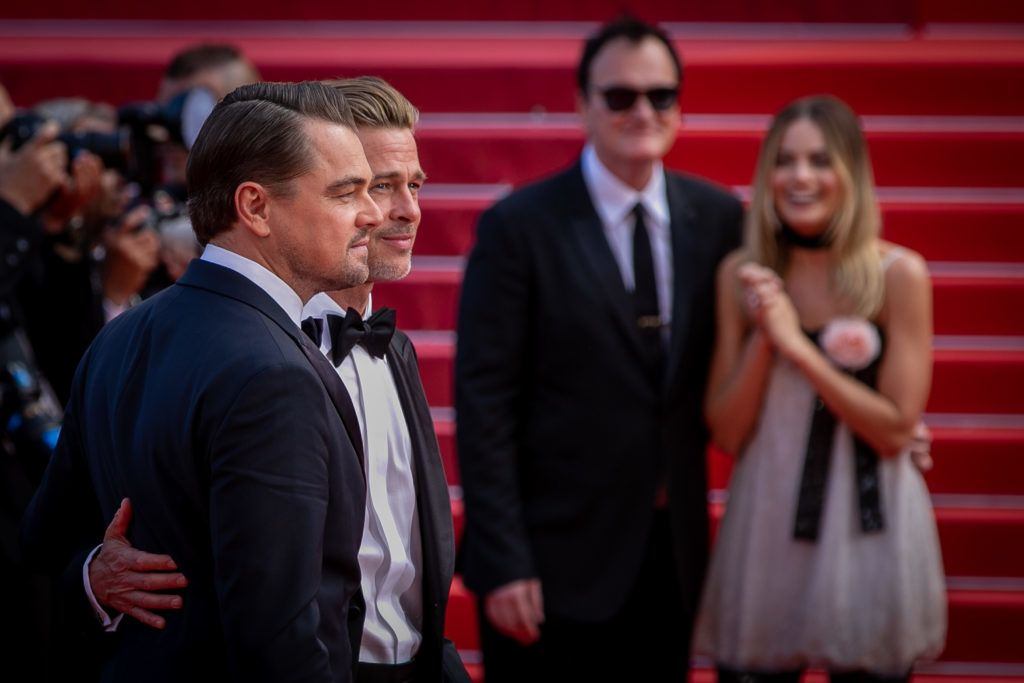 """CANNES, FRANCE - MAY 21: (L-R) Brad Pitt, Leonardo Di Caprio, Quentin Tarantino and Margot Robbie attend the screening of """"Once Upon A Time In Hollywood"""" during the 72nd annual Cannes Film Festival on May 21, 2019 in Cannes, France. (Photo by Marc Piasecki/FilmMagic)"""