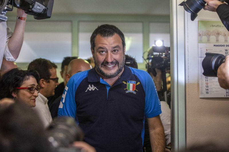 MILAN, ITALY - MAY 26: Italy's Deputy Prime Minister and leader of right-wing Lega (League) political party Matteo Salvini arrives at a polling station before casting his vote for the European Parliamentary election on May 26, 2019 in Milan, Italy. More than 400 million people all over European Union are eligible to elect 751 Members of the European Parliament (MEPs), the only institution of the European Union (EU) that is directly elected by EU citizens. (Photo by Emanuele Cremaschi/Getty Images)
