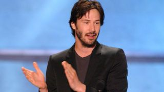 Keanu Reeves accepts the Taurus Honorary Award for Action Movie Star (Photo by J.Sciulli/WireImage)