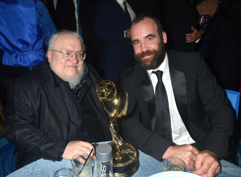 LOS ANGELES, CA - SEPTEMBER 18: Author George R. R. Martin (L) and actor Rory McCann attend HBO's Official 2016 Emmy After Party at The Plaza at the Pacific Design Center on September 18, 2016 in Los Angeles, California.  (Photo by Jeff Kravitz/FilmMagic)