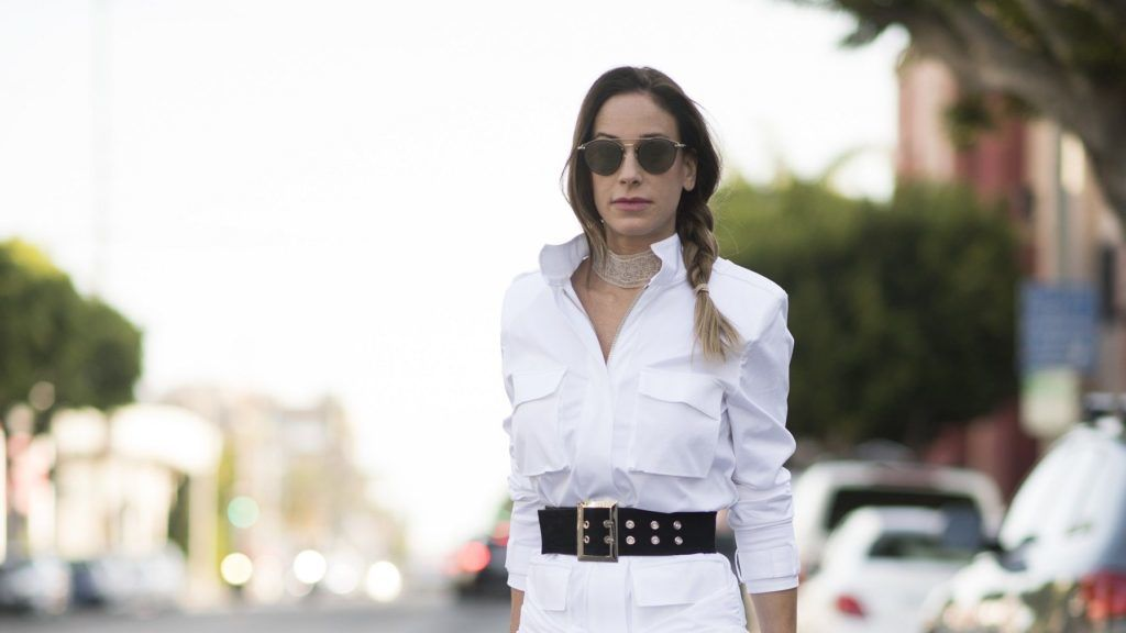 LOS ANGELES, CA - APRIL 13:  Timea Vajna is seen wearing a white dress from Alexandre Vauthierr a belt from Beaufille white leather boots from Balenciaga and a bag from Chanel seen in the streets of Los Angeles  on April 13, 2017 in Los Angeles, California.  (Photo by Timur Emek/Getty Images)