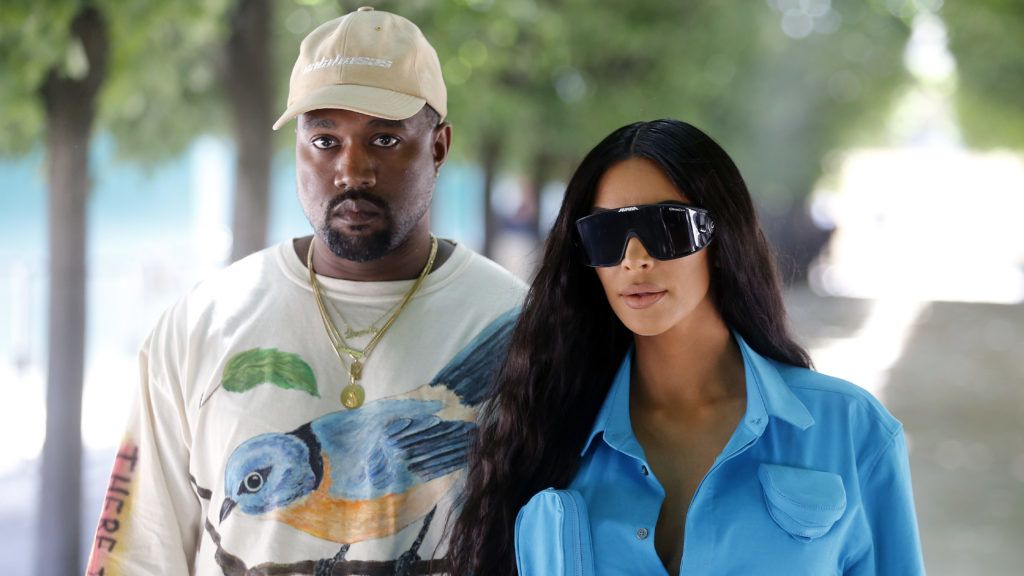 PARIS, FRANCE - JUNE 21:  Kanye West and Kim Kardashian attend the Louis Vuitton Menswear Spring/Summer 2019 show as part of Paris Fashion Week Week on June 21, 2018 in Paris, France.  (Photo by Chesnot/WireImage)