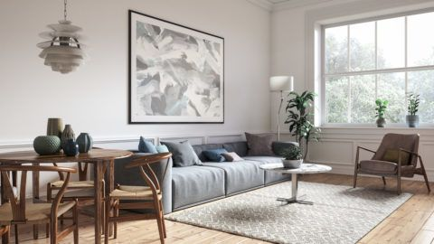 Scandinavian interior design living room 3d render with gray colored furniture and wooden elements