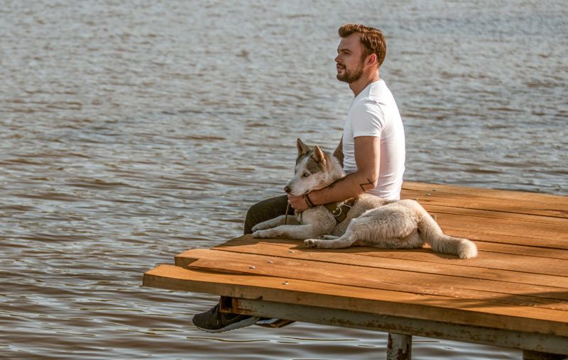 Side view of man embracing Husky dog while sitting on wooden pier above calm water and thinking