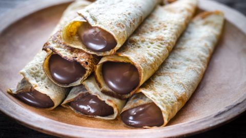 Crepes with chocolate cream