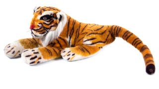 Tiger doll isolated on white background.Closeup of Bengal tiger doll isolated