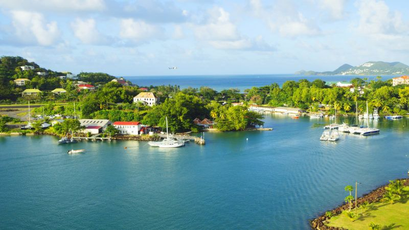 St. Lucia is considered the most beautiful island in the Caribbean sea. The island has two airports. Landing strip starts right at the edge of the sea.