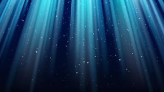 Empty dark blue background with rays of light, sparkles, shining night star sky