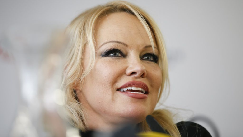 """Canadian-American actress and model Pamela Denise Anderson during press conference during Elevate Festival at Forum Stadtpark in Graz, Austria, on 27 th February 2019. (Photo credit should read """"ERWIN SCHERIAU/APA-PictureDesk via AFP"""")"""