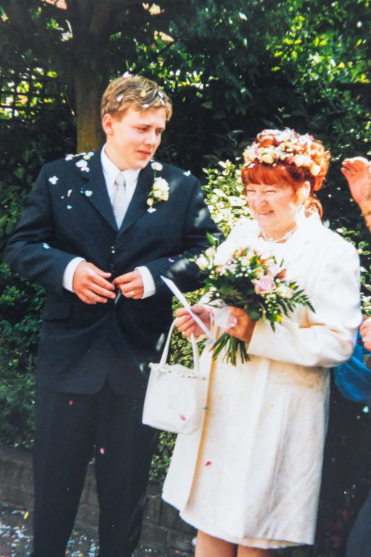 Jay Barham, 36 with his wife Linda Barham, 70 on their wedding in July 2001. See SWNS copy SWCAagegap: A devoted couple with a 31 year age gap are set to celebrate 18 years of marriage despite family and friends saying it would never last.Jay Barham first fell in love with divorcee Linda when he was aged just 17 and she was a mum-of-two aged 51 in 2000.They married the following year.Next month Jay, 36, is due to celebrate 18 years of marriage to Linda, 69, and both insist they are 'more in love than ever.' ***EXCLUSIVE***