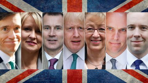 A combination of pictures created in London on May 26, 2019 shows recent pictures of the contenders declared as of May 26 to replace Britain's Prime Minister Theresa May when she resigns on June 7: (L-R) Britain's International Development Secretary Rory Stewart, former works and pensions secretary Esther McVey, Britain's Foreign Secretary Jeremy Hunt, former foreign secretary Boris Johnson, former leader of the House of Commons Andrea Leadsom, former Brexit secretary Dominic Raab and Britain's Health and Social Care Secretary Matt Hancock, all pictured in Downing Street, central London. - British Prime Minister Theresa May announced her resignation in an emotional address on on May 24, 2019, ending a dramatic three-year tenure of near-constant crisis over Brexit. May, 62, said she would step down as Conservative Party leader on June 7 starting a leader battle to replace her. (Photo by STF / AFP)