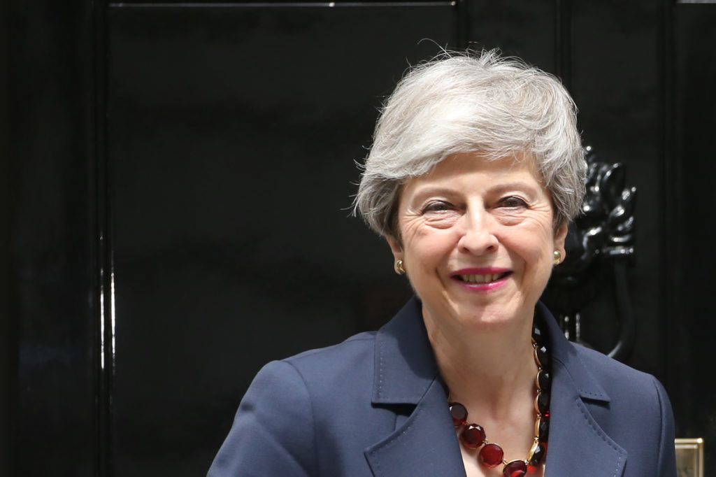 Britain's Prime Minister Theresa May gestures as she meets Nepal's Prime Minister K P Sharma Oli at 10 Downing Street in London on June 11, 2019. (Photo by ISABEL INFANTES / AFP)
