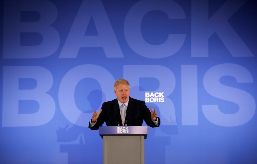 """Conservative MP Boris Johnson speaks during his Conservative Party leadership campaign launch in London on June 12, 2019. - Boris Johnson launches his campaign Wednesday to replace Theresa May as Britain's next leader, as lawmakers moved to stop him and other hardliners from delivering a """"no deal"""" Brexit. (Photo by Tolga AKMEN / AFP)"""
