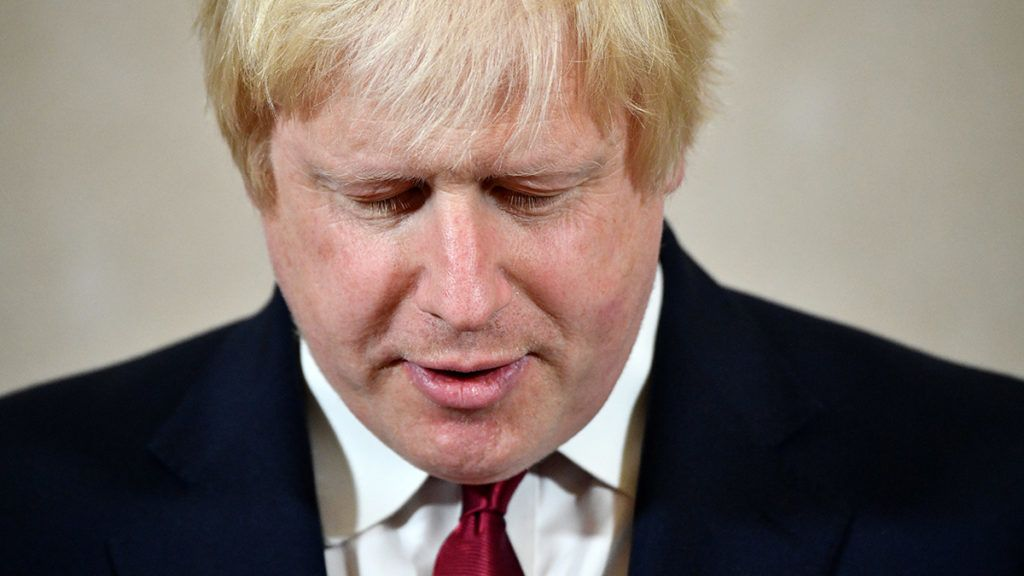 Brexit campaigner and former London mayor Boris Johnson addresses a press conference in central London on June 30, 2016. - Brexit campaigner Boris Johnson said Thursday that he will not stand to succeed Prime Minsiter David Cameron. (Photo by LEON NEAL / AFP)