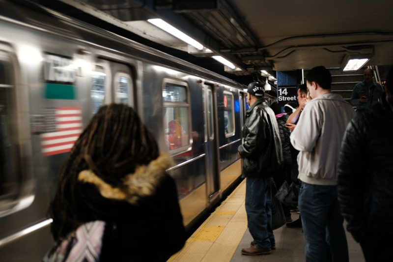 NEW YORK, NEW YORK - APRIL 22: People wait for a subway in Manhattan on April 22, 2019 in New York City. A 21-year-old woman was killed Saturday after she was struck by an oncoming train at a New York City subway stop. The incident, on the nations busiest subway line, comes only two months after a 39-year-old man was killed after he was dragged 20 feet into a subway tunnel by a train at Grand Central station in New York.   Spencer Platt/Getty Images/AFP