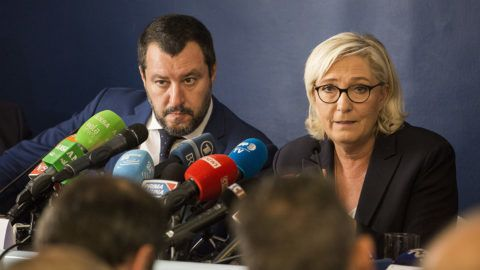French far right National Rally (RN) party leader Marine Le Pen attends a news conference with Italy's Interior Minister  Matteo Salvini at the headquarters of the Unione Generale del Lavoro (UGL, General Union of Labor) trade union in Rome, Italy on  October 8, 2018.   (Photo by Christian Minelli/NurPhoto)