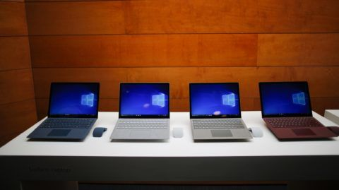New Windows 10 devices are seen at Microsoft's Education media event on Tuesday, May 2, 2017 in New York.