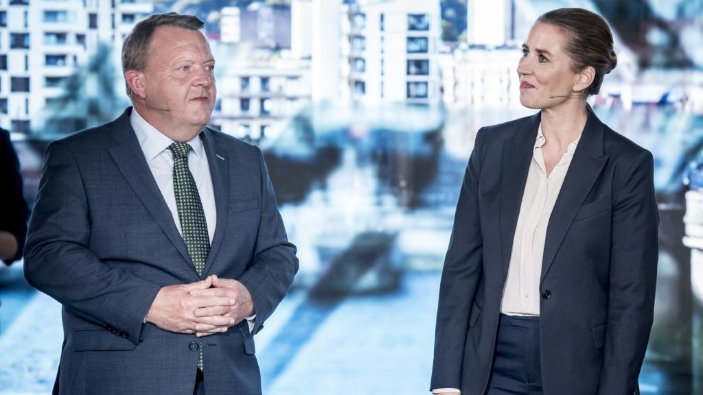 Leader of the Social Democrats, Mette Frederiksen (R), and Prime Minister and leader of the Liberal Party, Lars Loekke Rasmussen, take part in an Television debate on TV 2 in Odense, Denmark on May 19 2019 ahead of a general election on June 5, 2019. (Photo by Mads Claus Rasmussen / Ritzau Scanpix / AFP) / Denmark OUT