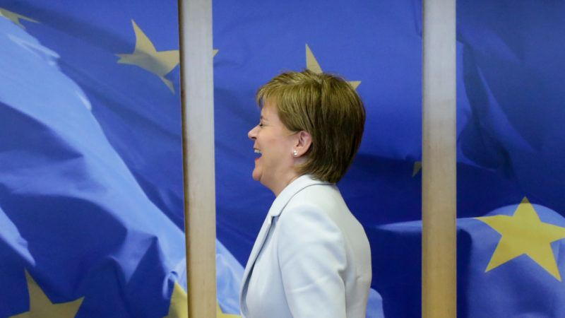 Scotland's First Minister Nicola Sturgeon reacts as she arrives at the European Commission headquarters for a meeting with the European Commission President on June 11, 2019, in Brussels. (Photo by Aris Oikonomou / AFP)