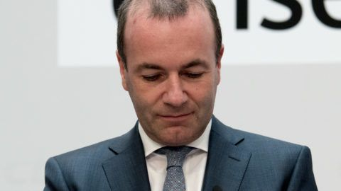 Manfred WEBER (top candidate, CDU) looks to ground, looks down, frustrated, frustrated, frustratedet, disappointed, disappointed, disappointment, disappointment, sad, European elections 2019 - The election evening of the CDU in Konrad-Adenauer-Haus in Berlin, Germany on 26.05 .2019. | Usage worldwide